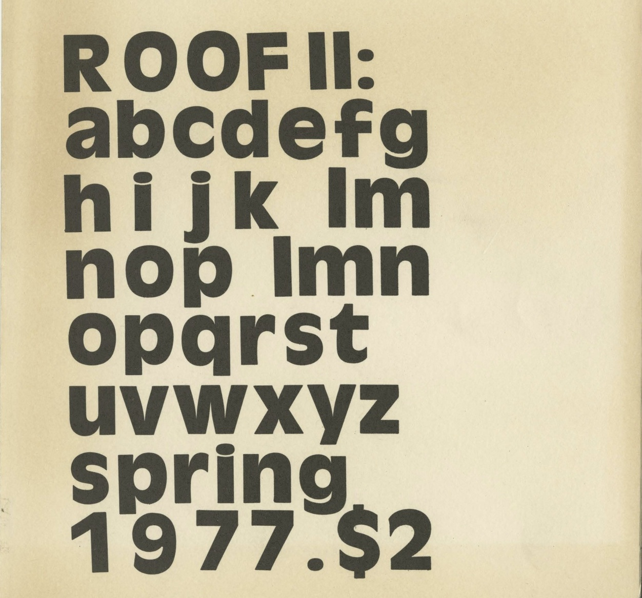 from Roof, No. II, Spring 1977