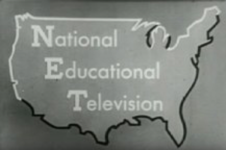 "outline of the US with the words ""National Educational Television"" within it"