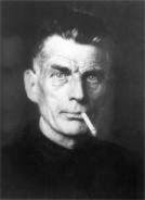 black and white photo of author Samuel Beckett from the shoulders up, with a cigarette hanging from his mouth