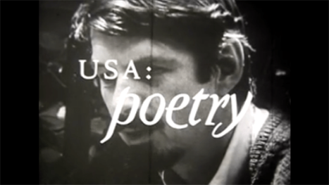 "image of poet Robert Creeley with white text superimposed over his face that reads: ""USA: poetry"""