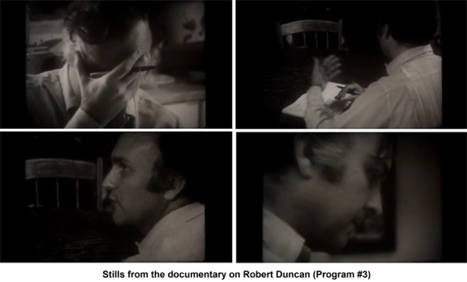 poet Robert Duncan in four stills from a Moore documentary. Duncan talks and writes while sitting at a table.