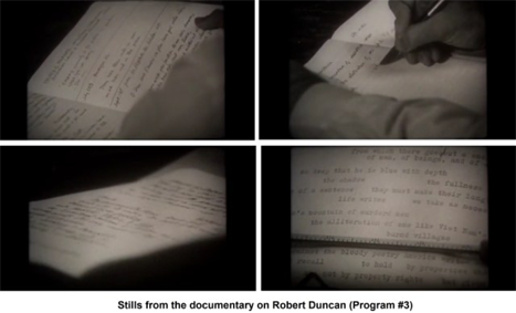 two stills of poet Robert Duncan's hands as he writes in a notebook, followed by a still with words on a paper lying flat, and a still of a typewriter with a sheet of words on it