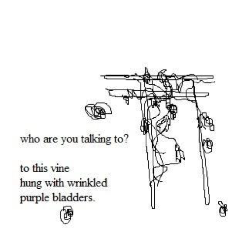 who are you talking to? // to this vine / hung with wrinkled / purple bladders.
