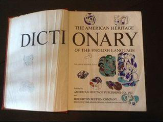 Weatherly's dictionary, with colorful abstract illustrations in the margins