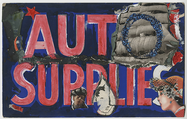 "collage with words ""auto supplies"" painted over in red, with the exception of the ""o,"" which is obscured by a black and white image of a ship and a blue glitter ""o"" drawn over it. additional paint and three images of white people's faces are also included"