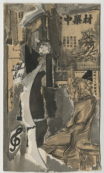 collage with gray and tan paper, paint, and ink shapes, Chinese lettering, botanical images, a treble clef, and a person with shoulder length hair facing backward and sitting in an armchair