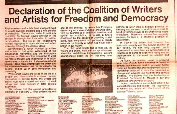 The declaration of support for Marcos by the group of writers and artists that later on came to be known as COWARD. Image courtesy of the twitter user @highreaching, published on January 22, 2018.