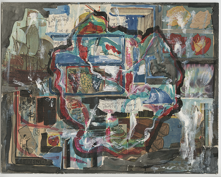 collage with sweeping lines of white, red, black, and blue paint throughout; collaged clippings include images of roses, handwriting, lumber, an island, trees, people working construction, grape bunches, and a ship