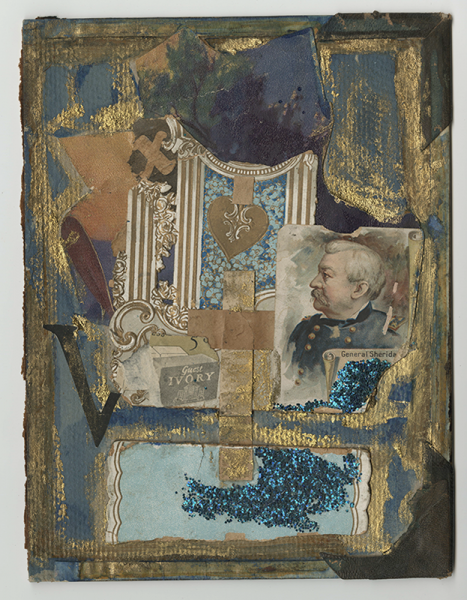 collage with blue and gold shapes, blue glitter, patterned clippings, the letters X and V, an ornamented heart, and an image of General Sheridan in profile