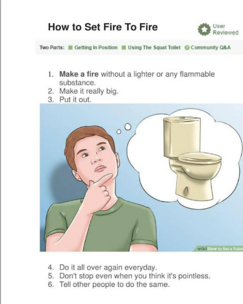 "Image of person thinking about toilet with wikihow-style heading ""How to Set Fire to Fire"""