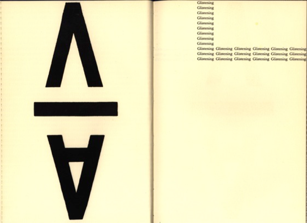 "design featuring boldface letters and the word ""glistening"" repeated"
