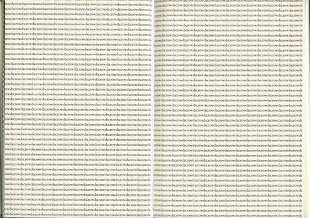 "two-page design featuring the word ""crowds"" repeated"