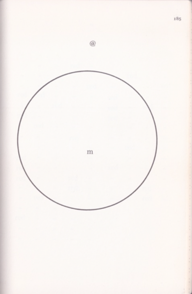 "design featuring ""@"" outside of a circle with ""m"" in the center, page 185"