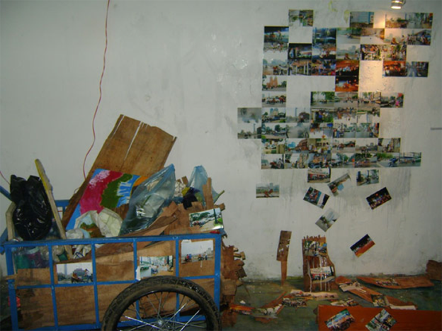 An installation view of the exhibition Debris, Ngô Lực's painting studio, Sài Gòn, 2010. Image courtesy of Ngô Lực.