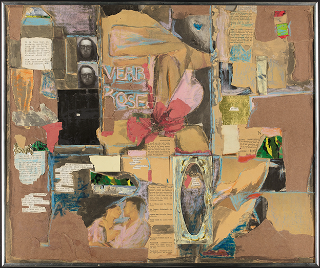"collage with many snippets of paper and text, with the words ""verb rose"" handwritten near the center; floral and figure drawings and two small images of a long-haired man wearing glasses are included."