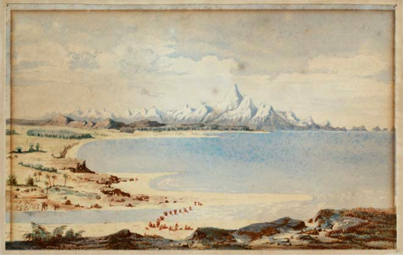 Arahbura River Mouth, 1846. Charles Heaphy sketched this scene of Arahura on the West Coast about 1846, well before gold was discovered in New Zealand. Subsequently, an unknown watercolourist copied the scene to produce this painting.