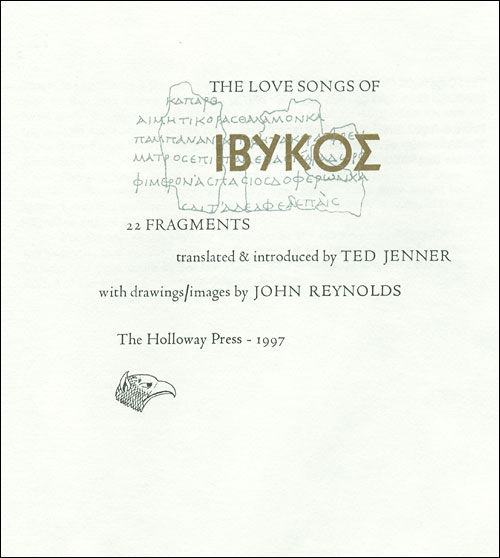 Ted Jenner, The Love Songs of Ibykos, Auckland: Holloway Press, 1997