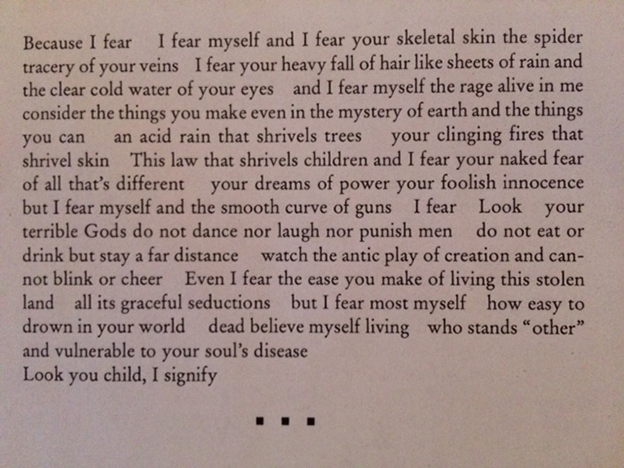 "Claire Harris's poem ""Policeman Cleared in Jaywalking Case,"" excerpted. Excerpt begins ""Because I fear ..."""