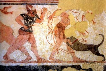 Phersu and his victim, Tomb of the Augurs, late 6th century B.C.E.,  Tarquinia