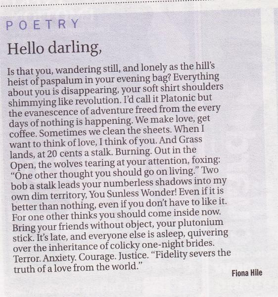 Hello darling, by FIona Hile