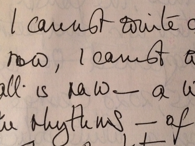 "handwritten portion of a note from M. NourbeSe Philip to Claire Harris, incl. the phrase ""I cannot write"""