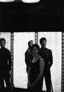Melanie Neilson with Spock, Kirk, and McCoy