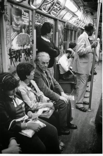 Nicanor Parra on the subway, NYC, September 5, 1984.  Photo: Allen Ginsberg