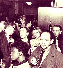 Frank O'Hara, Barbara Guest (center) at the closing of the Cedar Bar, New York, 30 March, 1963, detail, photo copyright © Fred W.McDarrah, 1963, 2000