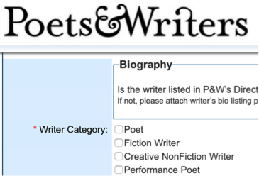 Writer category from Poets & Writers
