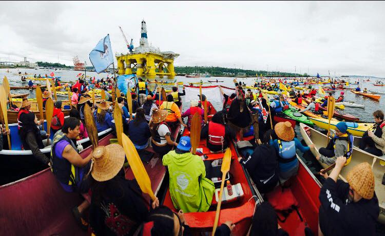 Mary Catherine Brewer/Kayaks and canoes surrounded the Royal Dutch Shell oil rig on May 16 to protest arctic drilling.