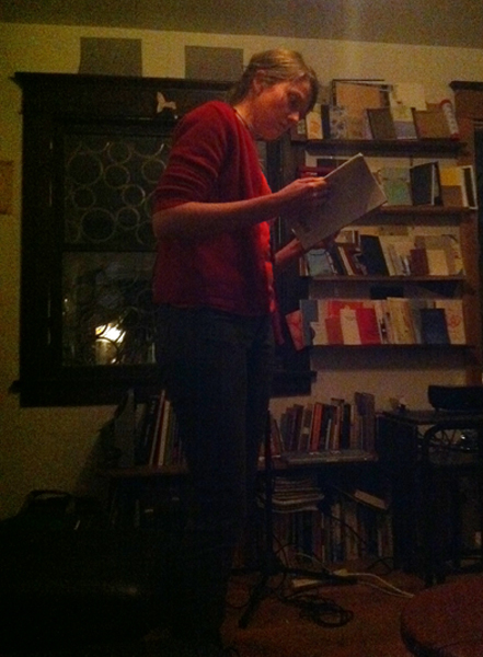 Sommer Browning reading in the front room.