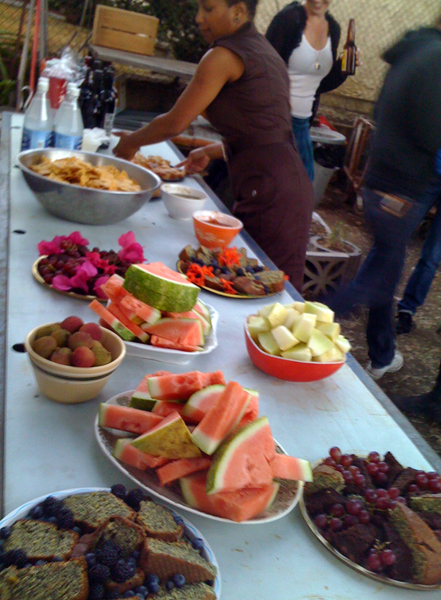 Home-baked goods, fresh fruits, homemade salsa with chips from the tortillería around the corner, and Tisa Bryant beautifying the table