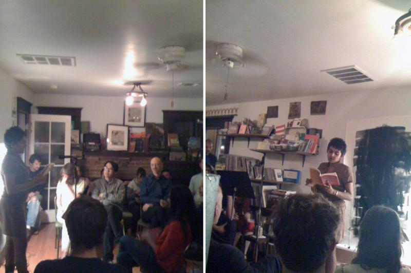 Left, Pireeni Sundaralingam in the front room introducing Indivisible and the reading; Right, Pireeni Sundaralingam in the front room reading from Indivisible in front of Mark Sylbert's drawing.