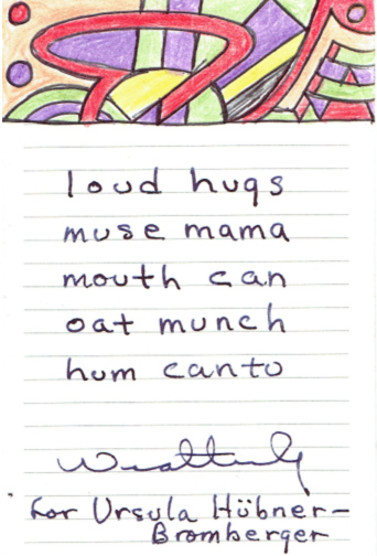 """loud hugs / muse mama / mouth can / hum canto"""