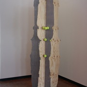 "Robert Pulie, ""Close-ish."" (17 mm construction ply, steel, astro turf, tennis balls, clear PVC tubing, sushi grass, enamel paint)"