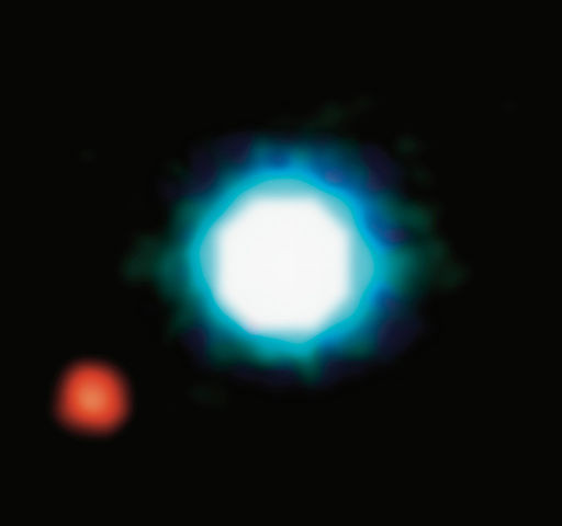 Image of brown dwarf star 2M1207 and a companion object, 2M1207b. The image may