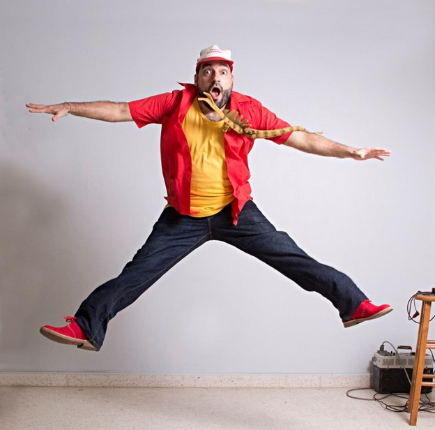 Jumping portrait of Urayoán Noel by ADÁL.  2015.