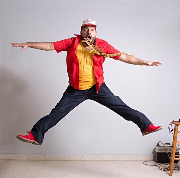 Jumping portrait of Urayoán Noel by ADÁL.  2015.