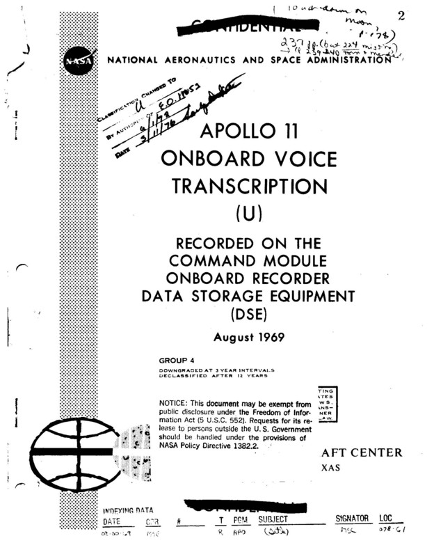 First page of the Apollo 11 onboard voice transcript, courtesy of NASA.