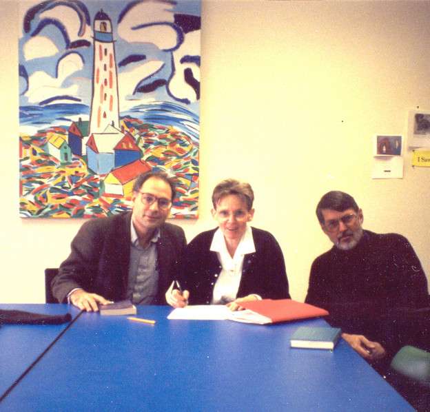 Robert Creeley and Susan Howe with me at 438 Clemens Hall in December 1992; Susa
