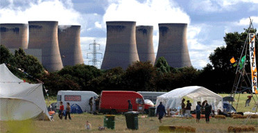 Climate Camp, beside Yorkshire, England's Drax power plant; photo: John Giles/PA