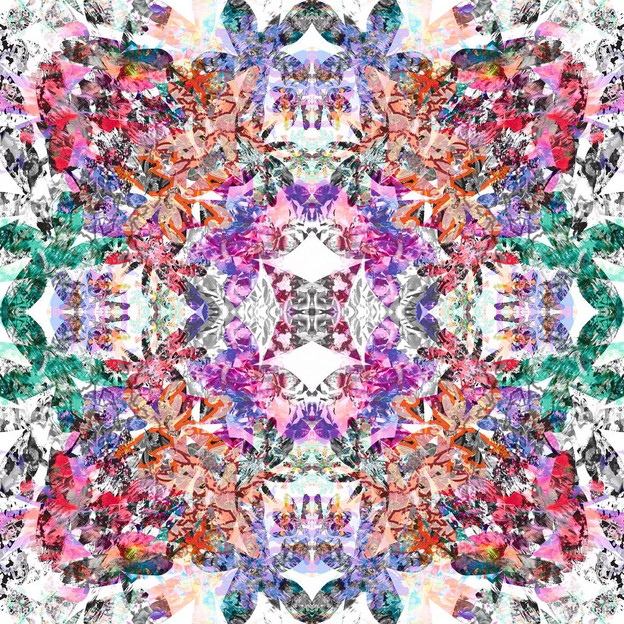 The Dianthus Kaleidoscope scarf was made using flower-shaped cuttings of collage