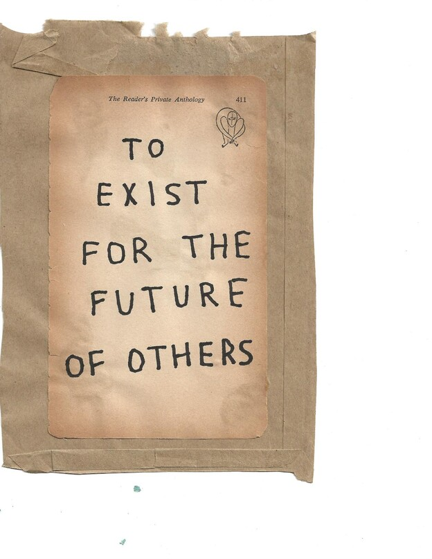 "text reads: ""To exist for the future of others"""