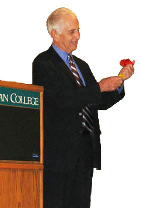 Daniel Ellsberg performs a magic trick at Whitman College