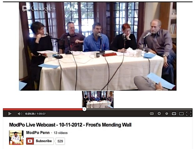 frost s poetics and the mending wall jacket screenshot of the modpo mending wall live webcast 11 2012 from left to right taije silverman john timpane al filreis moderator