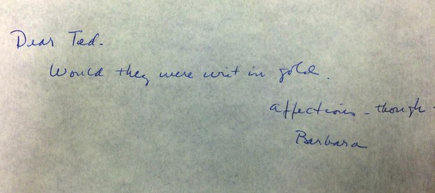 Barbara Guest's note to Ted Berrigan