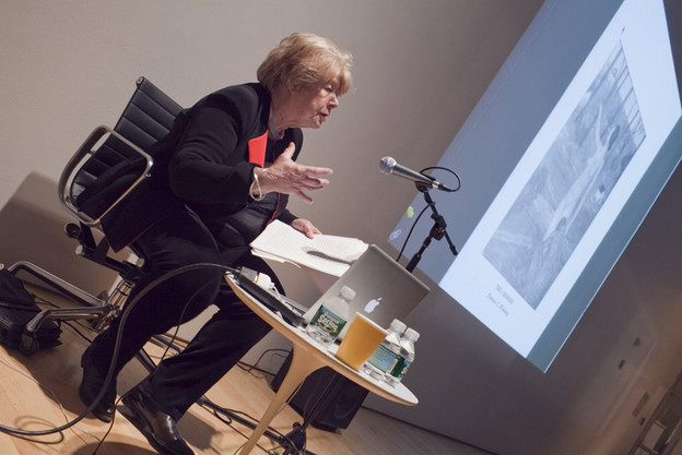 Perloff lecturing on Duchamp at CUNY, 2012. Photo by Matthew Knip.