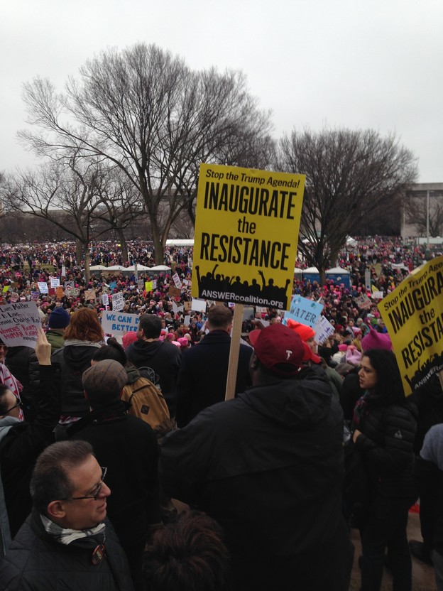 "Image of protest with sign saying ""Inaugurate The Resistance"""