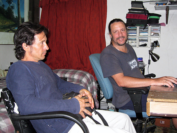 Omar Pérez and Dennis Casteleiro before recording session, 2010.  K. Dykstra.