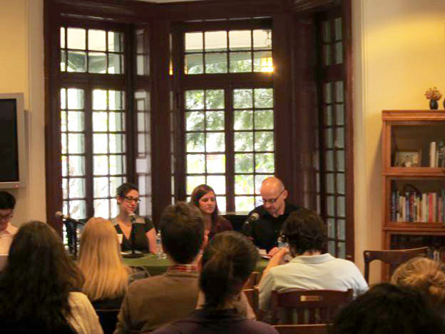Stefania Heim, Hannah Baker Saltmarsh, and Piotr Gwiazda at Kelly Writers House,